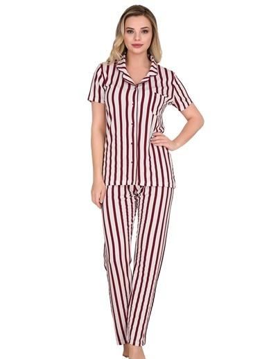 Sensu Kadın Pijama Takımı Kısa Kollu Düğmeli  Pj3003 Renkli